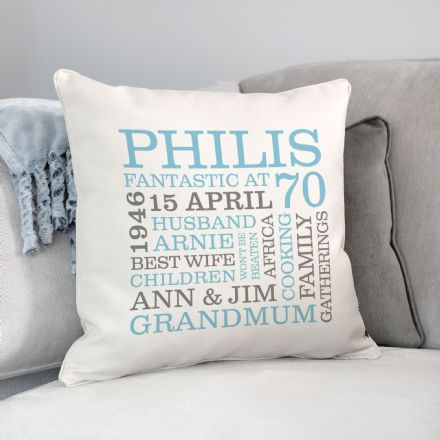 Personalised 70th Birthday Word Art Cushion